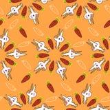 Χαριτωμένο σχέδιο κουνελιών με τα καρότα Στοκ Εικόνα