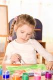 Χαριτωμένο σχέδιο μικρών κοριτσιών με το χρώμα Στοκ Εικόνες