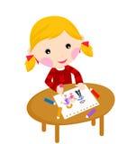 Χαριτωμένο σχέδιο μικρών κοριτσιών Στοκ εικόνες με δικαίωμα ελεύθερης χρήσης