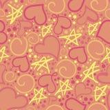Χαριτωμένο σχέδιο των καρδιών και των αστερίσκων Στοκ εικόνα με δικαίωμα ελεύθερης χρήσης