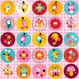 Χαριτωμένο σχέδιο φύσης κύκλων λουλουδιών ζώων χαρακτήρων Στοκ Εικόνα