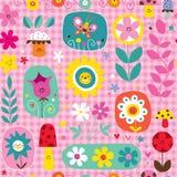 Χαριτωμένο σχέδιο φύσης μανιταριών λουλουδιών Στοκ Φωτογραφία