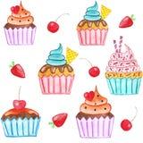 Χαριτωμένο σχέδιο watercolor με τα cupcakes Στοκ Φωτογραφία