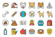 Χαριτωμένο σχετικό με το σκυλί εικονίδιο που τίθεται όπως το περιλαίμιο, μην σημάδι κατοικίδιων ζώων, ελεύθερη απεικόνιση δικαιώματος