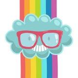 Χαριτωμένο σύννεφο κινούμενων σχεδίων στα γυαλιά hipster. Στοκ φωτογραφία με δικαίωμα ελεύθερης χρήσης