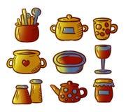 Χαριτωμένο σύνολο απεικονίσεων σκευών για την κουζίνα και εργαλείων που απομονώνονται στο άσπρο υπόβαθρο διάνυσμα φύλλων απεικόνι διανυσματική απεικόνιση