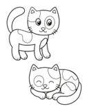 Χαριτωμένο σύνολο γάτας κινούμενων σχεδίων, διανυσματικές γραπτές απεικονίσεις για το χρωματισμό ή τη δημιουργικότητα των παιδιών ελεύθερη απεικόνιση δικαιώματος