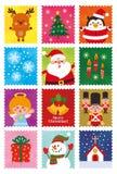 Χαριτωμένο σύνολο γραμματοσήμων χαρακτήρα Χριστουγέννων διανυσματική απεικόνιση