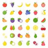 Χαριτωμένο σύνολο εικονιδίων φρούτων επίπεδο, όπως το πορτοκάλι, ακτινίδιο, καρύδα, μπανάνα, απεικόνιση αποθεμάτων