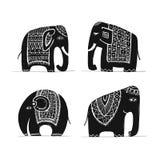Χαριτωμένο σύνολο ελεφάντων, σκίτσο για το σχέδιό σας απεικόνιση αποθεμάτων