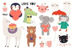 Χαριτωμένο σύνολο ημέρας βαλεντίνων ζώων απεικόνιση αποθεμάτων