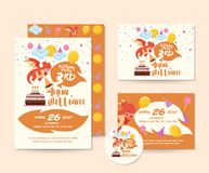 Χαριτωμένο σύνολο καρτών πρόσκλησης θέματος δράκων χρόνια πολλά και πρότυπο απεικόνισης ιπτάμενων Στοκ εικόνα με δικαίωμα ελεύθερης χρήσης