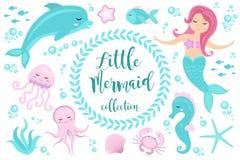 Χαριτωμένο σύνολο λίγη γοργόνα και υποβρύχιος κόσμος Γοργόνα πριγκηπισσών παραμυθιού και δελφίνι, χταπόδι, seahorse, ψάρια, μέδου διανυσματική απεικόνιση