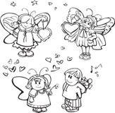 χαριτωμένο σύνολο σχεδίου αγγέλων διανυσματική απεικόνιση