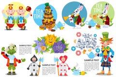 Χαριτωμένο σύνολο χαρακτήρων από τη Alice στη διανυσματική απεικόνιση ιστορίας χωρών των θαυμάτων Συμπεριλαμβανόμενος σε αυτό το  στοκ εικόνα με δικαίωμα ελεύθερης χρήσης