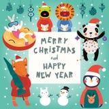 Χαριτωμένο σύνολο Χριστουγέννων ζώων διανυσματική απεικόνιση