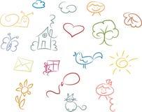 χαριτωμένο σύνολο doodle Στοκ φωτογραφία με δικαίωμα ελεύθερης χρήσης