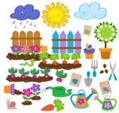 Χαριτωμένο σύνολο εικονιδίων άνοιξη κηπουρικής Στοκ Εικόνες