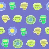 Χαριτωμένο σύνολο εργαλείων κουζινών άνευ ραφής διάνυσμα προτύπων Στοκ εικόνα με δικαίωμα ελεύθερης χρήσης