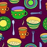 Χαριτωμένο σύνολο εργαλείων κουζινών άνευ ραφής διάνυσμα προτύπων Στοκ Εικόνες