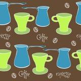 χαριτωμένο σύνολο καφέ άνευ ραφής διάνυσμα προτύπων Στοκ εικόνα με δικαίωμα ελεύθερης χρήσης