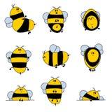 Χαριτωμένο σύνολο μελισσών Στοκ Φωτογραφίες