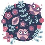 Χαριτωμένο σύνολο με την κουκουβάγια, λουλούδια, φυτά, φύλλο, μούρο, καρδιά Στοκ Εικόνα