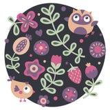 Χαριτωμένο σύνολο με την κουκουβάγια, πουλί, λουλούδια, φυτά, φύλλο, μούρο, καρδιά Στοκ Εικόνες