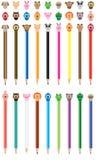 Χαριτωμένο σύνολο μολυβιών χρώματος κινούμενων σχεδίων ΚΑΠ ελεύθερη απεικόνιση δικαιώματος
