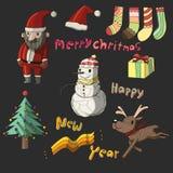 Χαριτωμένο σύνολο συλλογής Χριστουγέννων Απεικόνιση αποθεμάτων