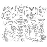Χαριτωμένο σύνολο τσαγιού Μονοχρωματικά απομονωμένα διάνυσμα αντικείμενα Στοκ εικόνα με δικαίωμα ελεύθερης χρήσης