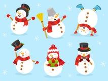 Χαριτωμένο σύνολο χιονανθρώπων ελεύθερη απεικόνιση δικαιώματος
