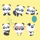 χαριτωμένο σύνολο panda διανυσματική απεικόνιση
