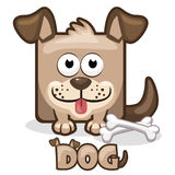 Χαριτωμένο τετραγωνικό σκυλί κινούμενων σχεδίων Στοκ εικόνες με δικαίωμα ελεύθερης χρήσης
