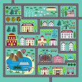 Χαριτωμένο τετραγωνικό χαλί οδικού παιχνιδιού για τη δραστηριότητα και την ψυχαγωγία παιδιών απεικόνιση αποθεμάτων