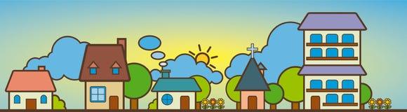 χαριτωμένο τοπίο σπιτιών Απεικόνιση αποθεμάτων