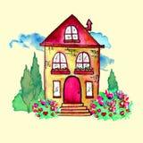 Χαριτωμένο τοπίο watercolor με το σπίτι και τον κήπο Γλυκιά βασική έννοια Χρωματισμένη χέρι κάρτα με το ευτυχές σπίτι, μπλε σύννε Στοκ εικόνα με δικαίωμα ελεύθερης χρήσης