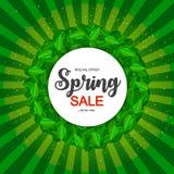 Χαριτωμένο υπόβαθρο πώλησης άνοιξη με τα πράσινα φύλλα επίσης corel σύρετε το διάνυσμα απεικόνισης Στοκ εικόνα με δικαίωμα ελεύθερης χρήσης