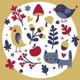 Χαριτωμένο φθινόπωρο που τίθεται με τη γάτα, πουλί Στοκ εικόνες με δικαίωμα ελεύθερης χρήσης