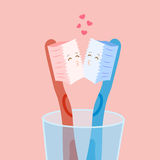 Χαριτωμένο φιλί οδοντοβουρτσών κινούμενων σχεδίων Στοκ Εικόνες