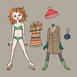 Χαριτωμένο φόρεμα επάνω στην κούκλα εγγράφου Πρότυπο, ιματισμός και εξαρτήματα σώματος επίσης corel σύρετε το διάνυσμα απεικόνιση Στοκ Φωτογραφίες