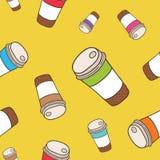Χαριτωμένο φλυτζάνι καφέ σχεδίων κινούμενων σχεδίων doodle άνευ ραφής Στοκ εικόνα με δικαίωμα ελεύθερης χρήσης