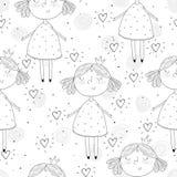 Χαριτωμένο χέρι που σύρεται με τη χαριτωμένη απεικόνιση σχεδίων μικρών κοριτσιών διανυσματική άνευ ραφής Στοκ φωτογραφία με δικαίωμα ελεύθερης χρήσης