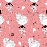 Χαριτωμένο χέρι που σύρεται με τη χαριτωμένη απεικόνιση σχεδίων μικρών κοριτσιών διανυσματική άνευ ραφής Στοκ εικόνα με δικαίωμα ελεύθερης χρήσης