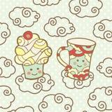 Χαριτωμένο χαμόγελο cupcake και φλυτζάνι στα σύννεφα Απεικόνιση αποθεμάτων