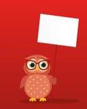 Χαριτωμένο χρωματισμένο owlet στα γυαλιά που κρατούν μια κενή αφίσα Στοκ φωτογραφίες με δικαίωμα ελεύθερης χρήσης