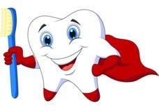 Χαριτωμένο δόντι superhero κινούμενων σχεδίων με την οδοντόβουρτσα ελεύθερη απεικόνιση δικαιώματος
