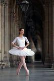 Χαριτωμένο ballerina που χορεύει σε ένα παλάτι Στοκ εικόνες με δικαίωμα ελεύθερης χρήσης