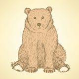 Χαριτωμένο bearl σκίτσων στο εκλεκτής ποιότητας ύφος απεικόνιση αποθεμάτων