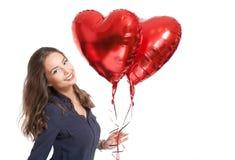 Χαριτωμένο brunette με ballons καρδιών Στοκ φωτογραφίες με δικαίωμα ελεύθερης χρήσης